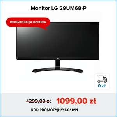 Monitor LG LG 29UM68-P (29''/LED/IPS/UW-UXGA/5ms/5mln:1/Głośniki/DP/2xHDMI) 200zł taniej + darmowa dostawa @ Morele