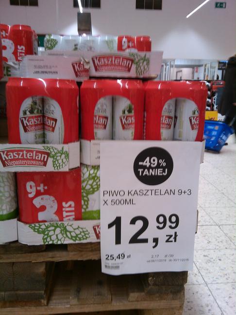 Piwo Kasztelan Niepasteryzowane 12 x 500 ml. Tesco
