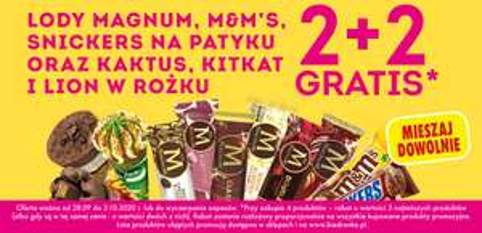 Lody Magnum, M&M's, Snickers, Kaktus, Kitkat i Lion 2+2 gratis - Biedronka