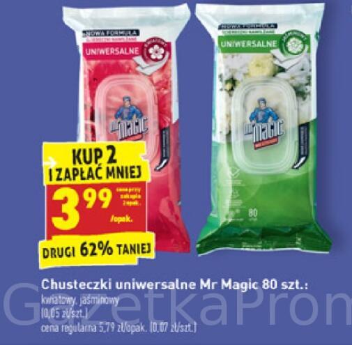 Chusteczki uniwersalne Mr. Magic 80 szt. lub Chusteczki specjalistyczne 50/60 szt. przy zakupie 2 opak. @Biedronka