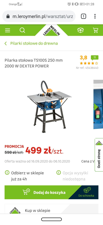 Pilarka stołowa, piła Krajzega stolikowaTS100S 250 mm 2000 W DEXTER POWER 113,8 (tylko odbiór w sklepach)