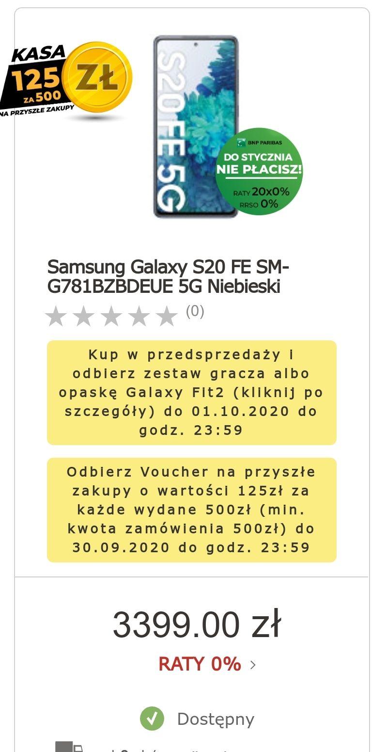 Samsung Galaxy S20 FE 5g (za zakup otrzymamy 500 zł w voucherach na wydanie w sklepie)