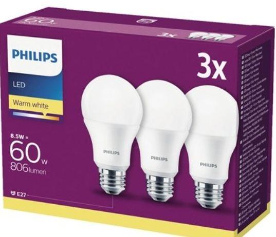 Żarówki LED PHILIPS 3 szt. E27, 8.5 W, 806 lm oraz akumulatorowa lampa LED IP44, 10 W, 600 lm 29.99 - Jula