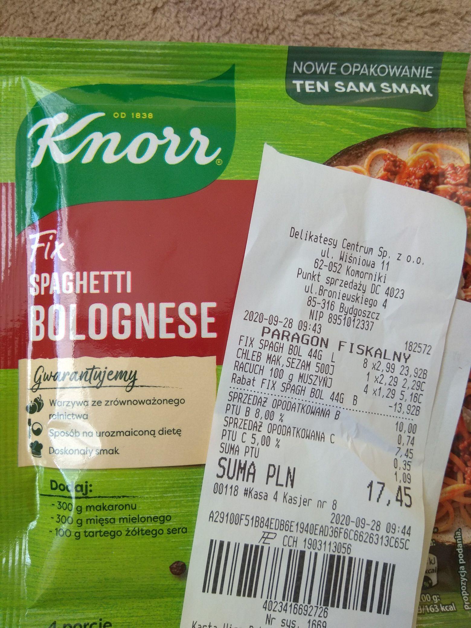 Delikatesy Centrum. Fix Knorr spaghetti bolognese.