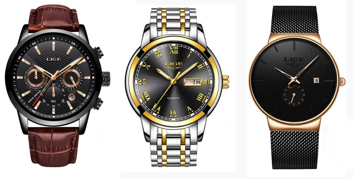 Promocja na zegarki LIGE w @AliExpress - przykłady - kwarcowe, 3ATM- od $15,29