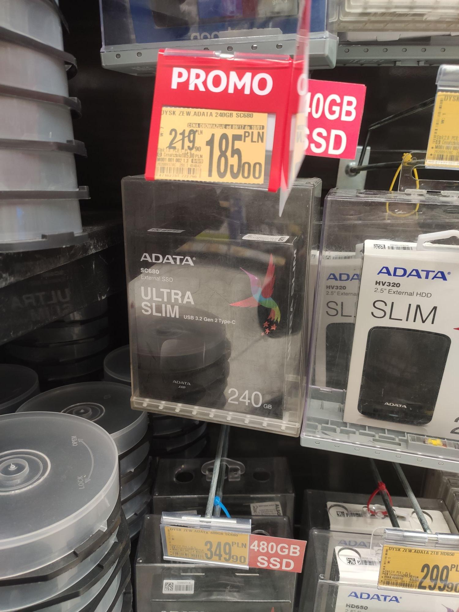 Dysk zewnętrzny SSD ADATA 240GB SC680 USB C 3.2