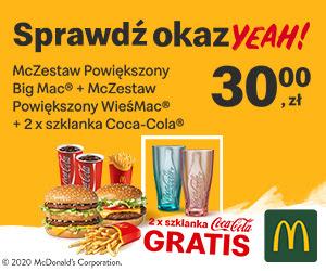 okazYEAH! McZestaw Powiekszony BigMac + McZestaw Powiększony WieśMac + 2 x szklanka Coca-Cola!