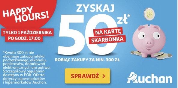 Auchan 50zł na kartę skarbonka za zakupy min 300zł