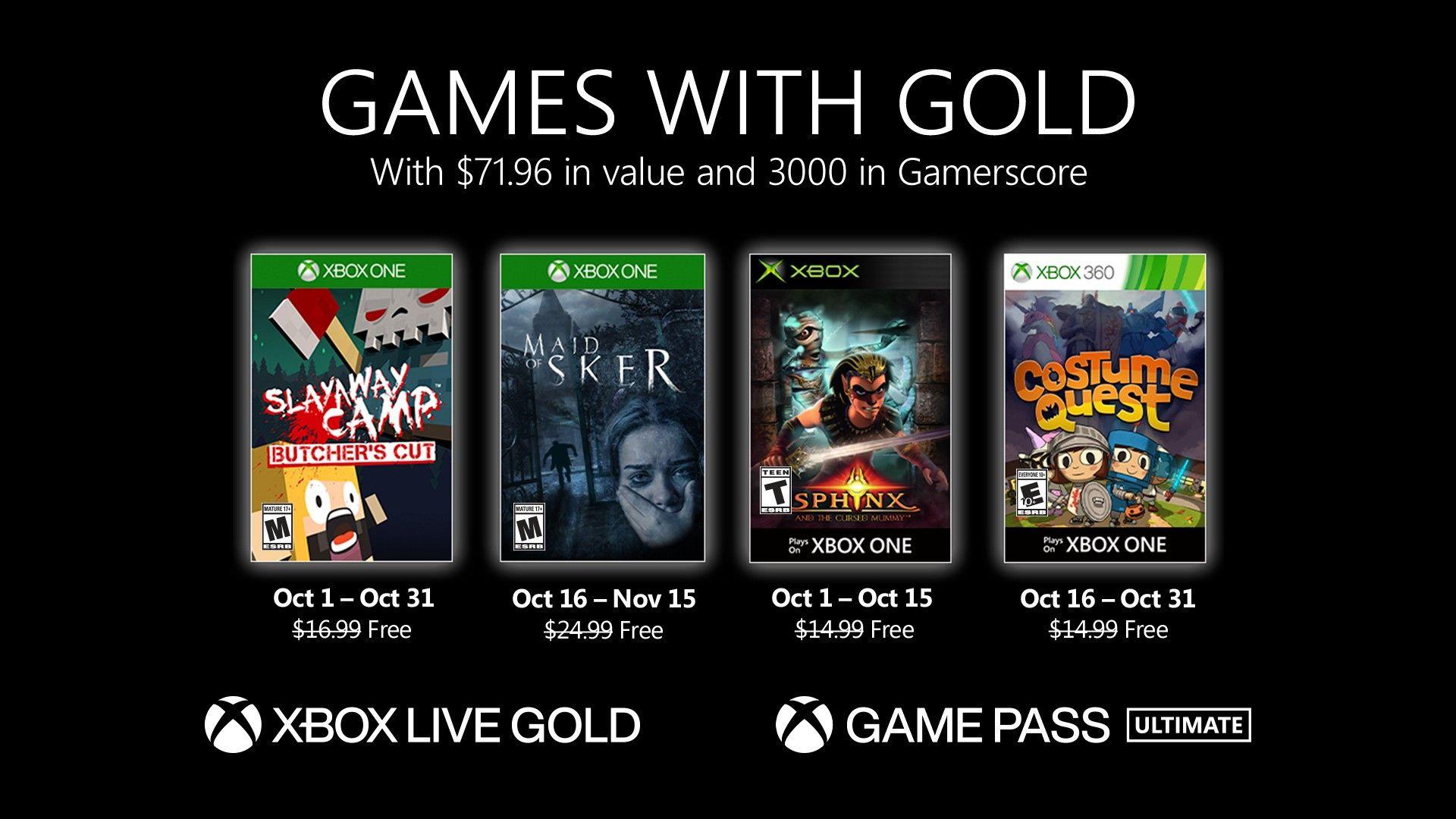 Games with Gold, październik