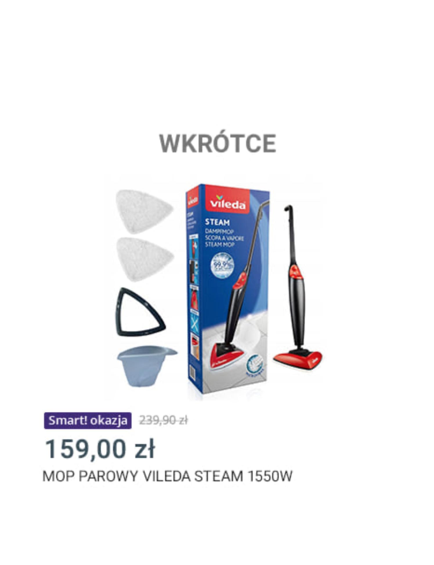 Mop parowy vileda steam 1550w allegro smart_week wkrótce
