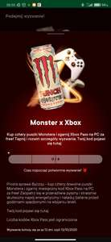 Miesiąc XBOX Game Pass za kupno 4 energy drinków Monster w Żabce
