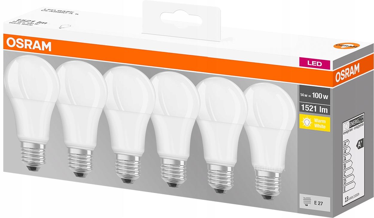 OSRAM 6x Żarówka LED E27 13W = 100W 1521lm