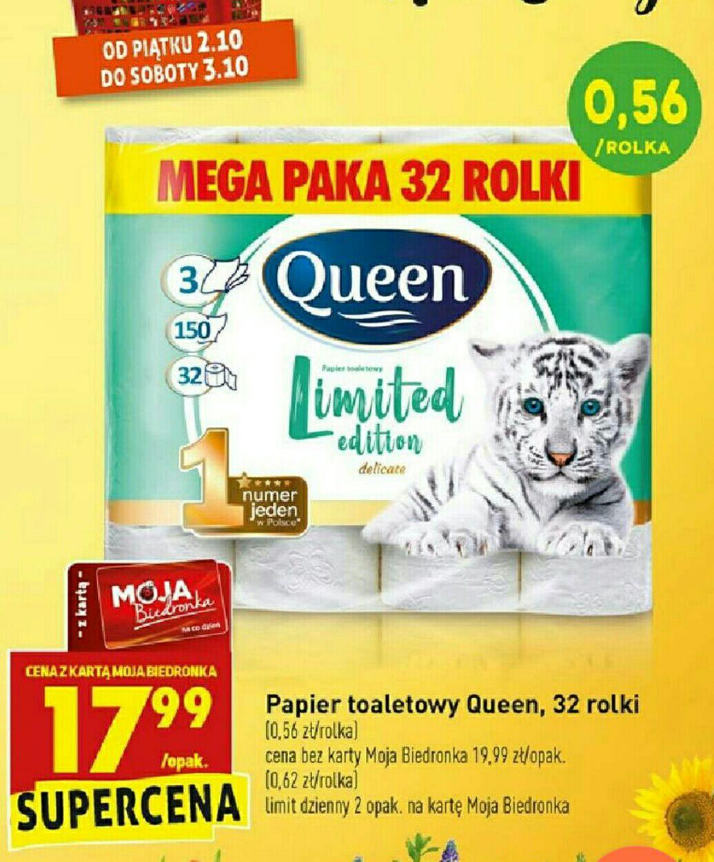 Biedronka, papier Queen 32 rolki za 17,99zł