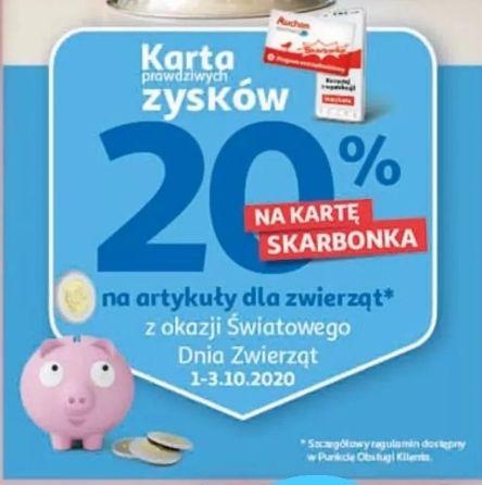 Auchan 20% na kartę Skarbonka na artykuły dla zwierząt