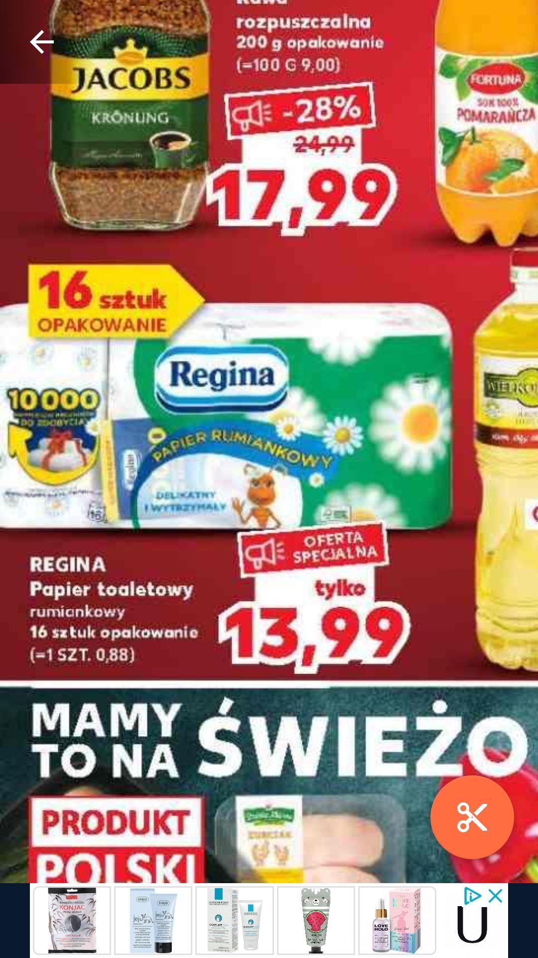 Kaufland - papier toaletowy REGINA 16 rolek. Cena za rolkę 0,88 pln