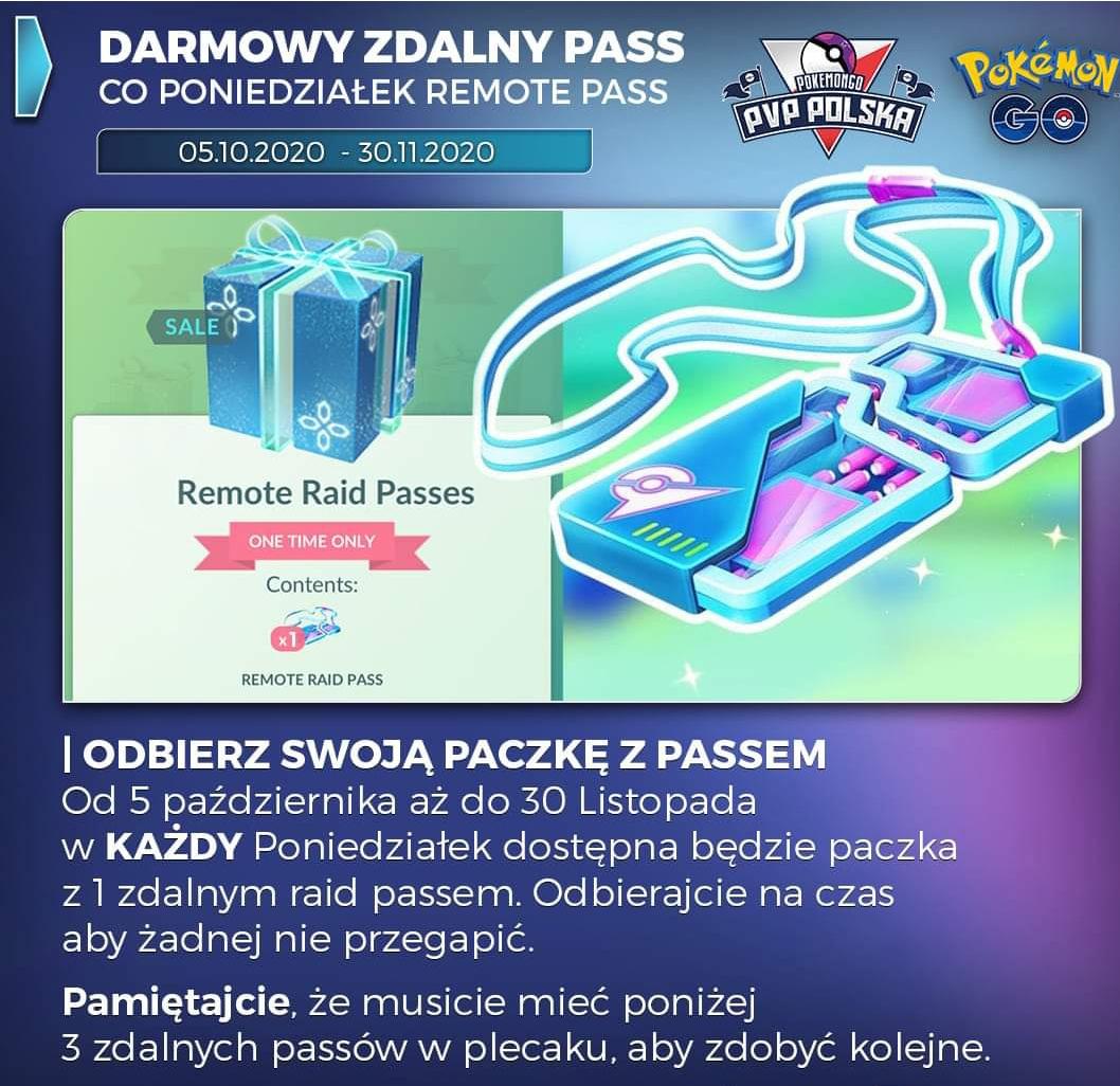 Pokemon Go - Paczka Remote Pass co każdy poniedziałek od 5 października do 30 listopada