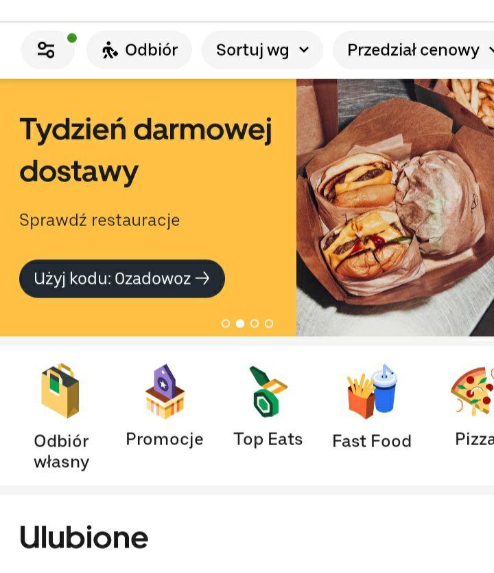 """UBER EATS - Tydzień darmowej dostawy z kodem """"0ZADOWOZ"""" UBEREATS"""