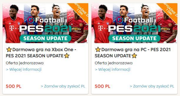 Gra PES 2021 na Xbox One/PC za 500 punktów pyszne.pl
