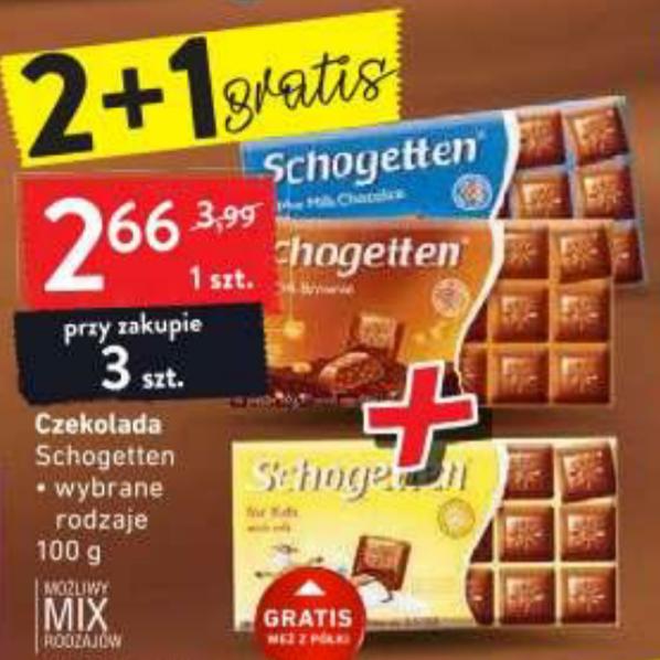 Czekolada Schogetten 100g 2+1 GRATIS. Intermarche