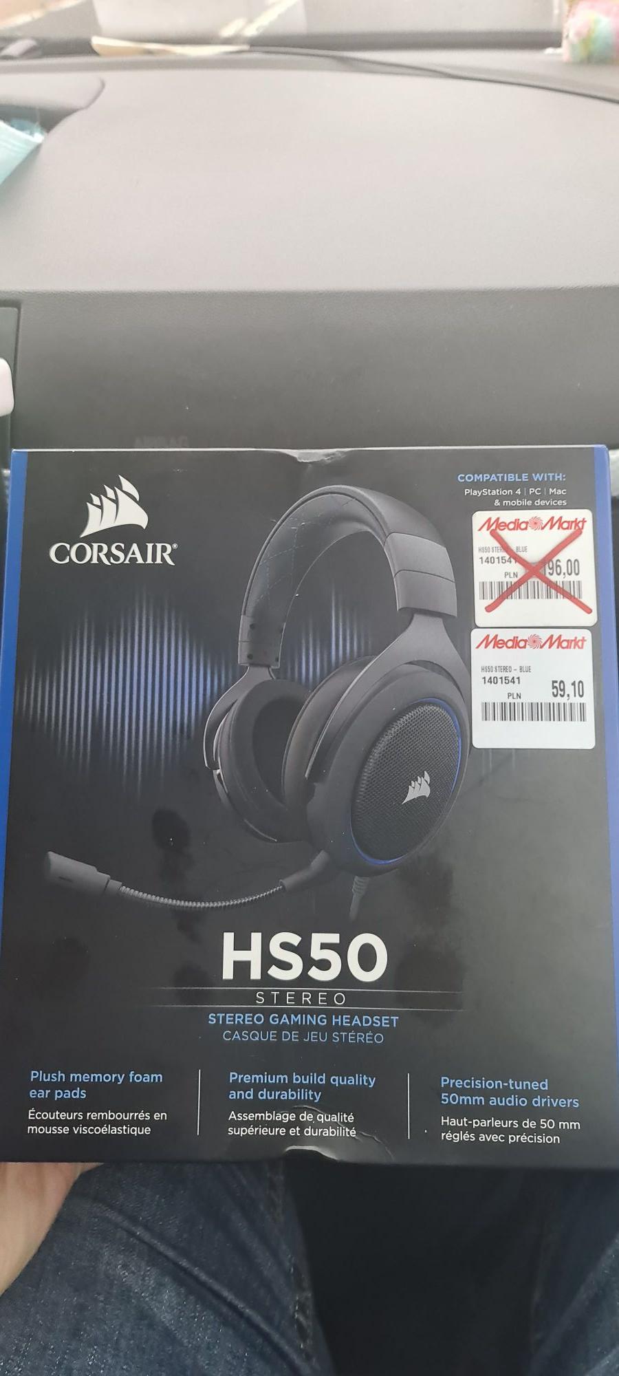 Corsair hs50 stereo niebieskie