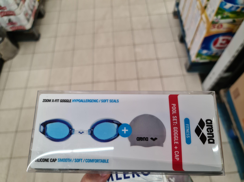 Okulary pływackie Arena Zoom X-Fit niebieskie + czepek szary