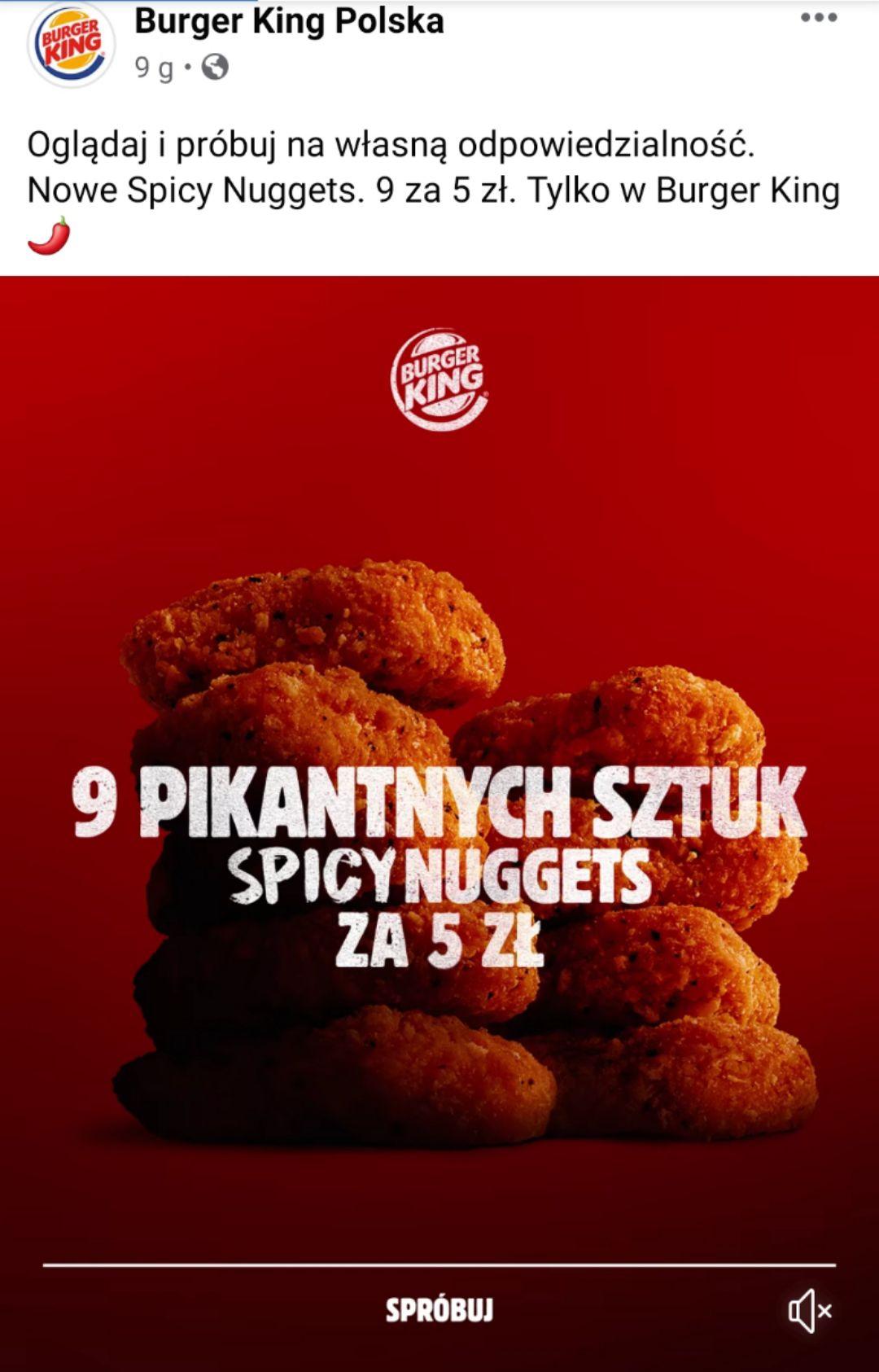 9 spicy nuggets w Burger King za 5zl (działa także na normalne nuggetsy)