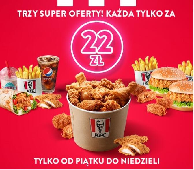 3 oferty weekendowe w KFC na MIEJSCU lub Z DOSTAWĄ!
