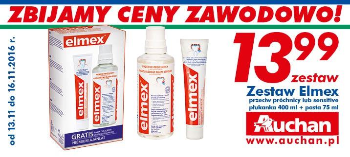 Auchan: Zestaw Elmex: płukanka 400 ml + pasta 75 ml w bardzo dobrej cenie