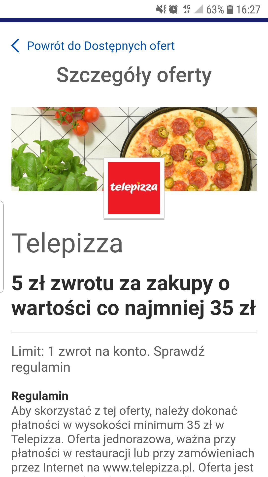 VISA Telepizza 5zł zwrotu za zakupy o wartości co najmniej 35zł
