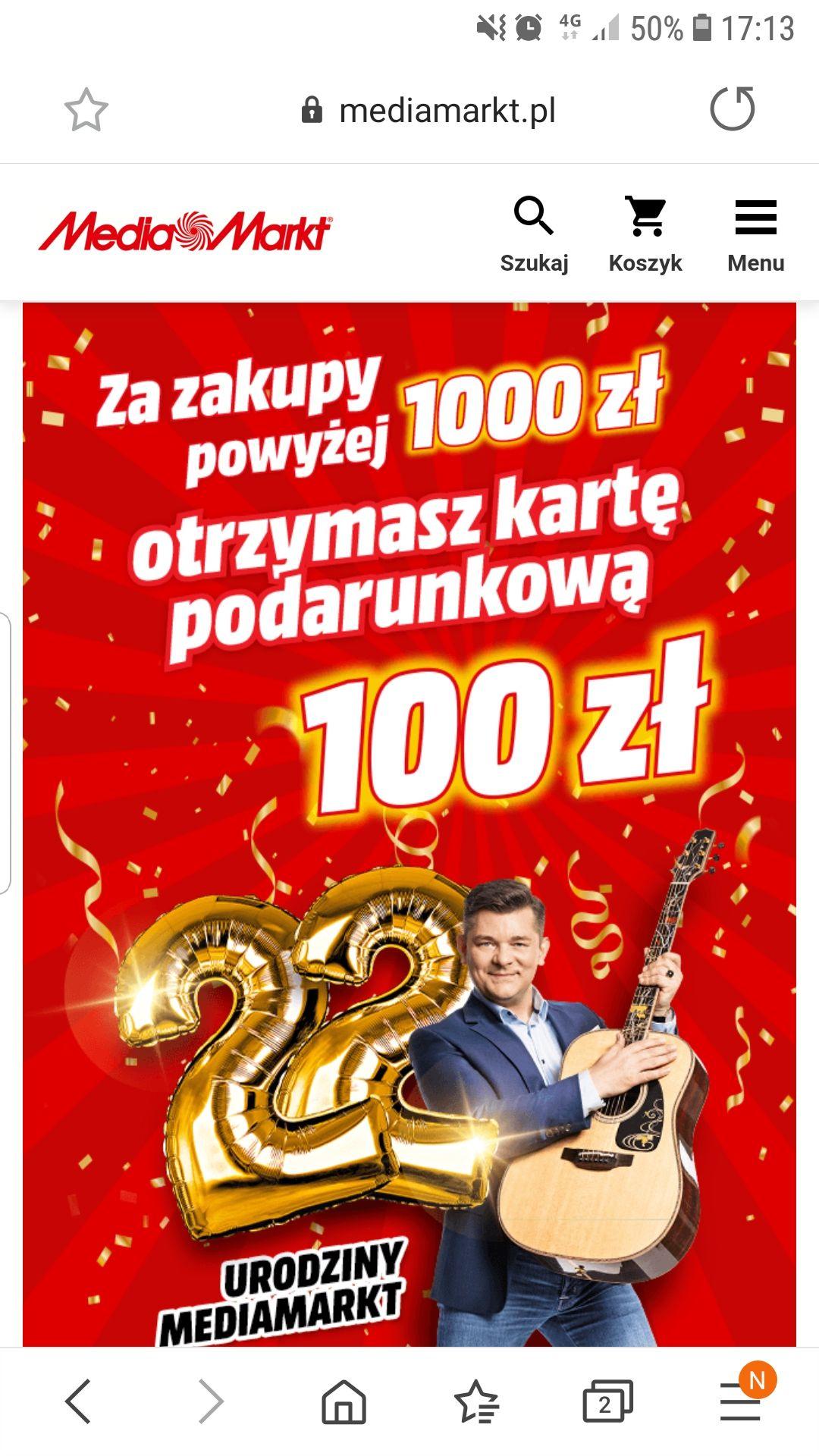 Media Markt 22 urodziny. 100zł na karcie podarunkowej za zakupy powyżej 1000zł