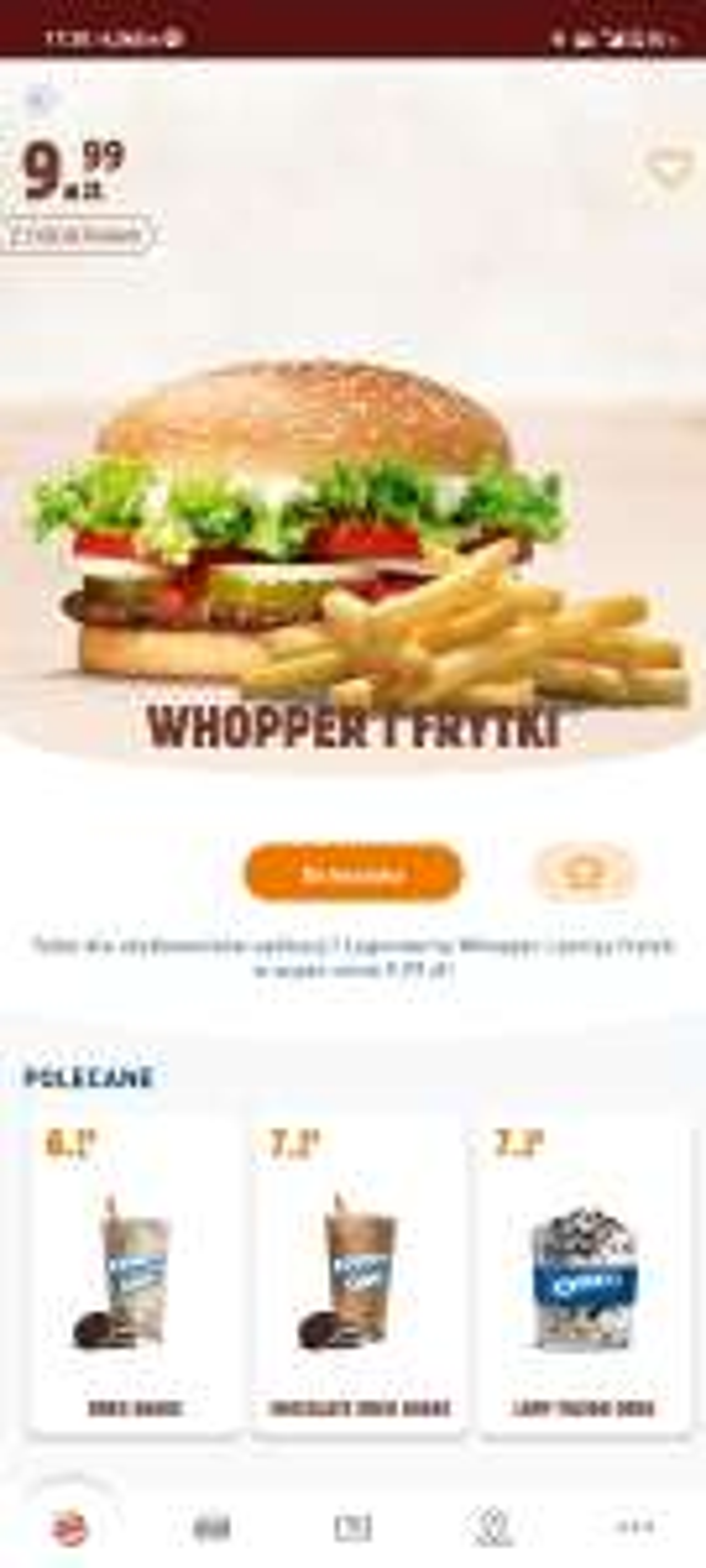 Whooper + małe frytki w aplikacji