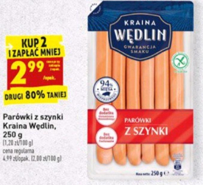 Parówki z szynki, Kraina Wędlin, kup 2 i zapłać 2,99zł/opak., Biedronka