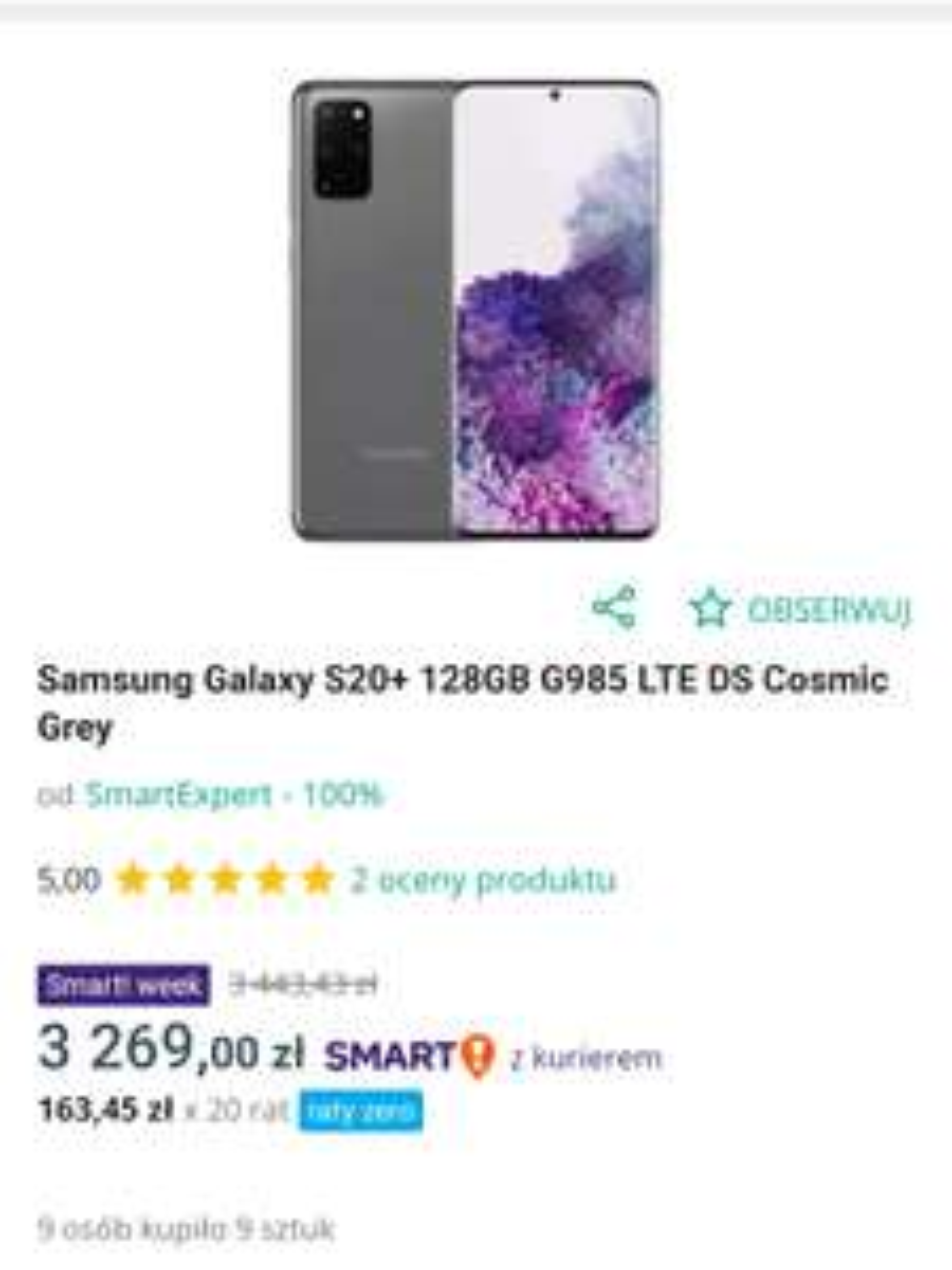 Samsung galaxy s20 plus 4G Cosmic grey