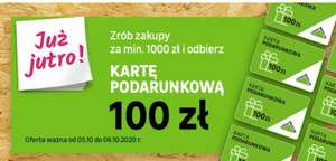 100 zł zwrotu na kartę za zakup na kwotę minimum 1000 zł w Leroy Merlin.