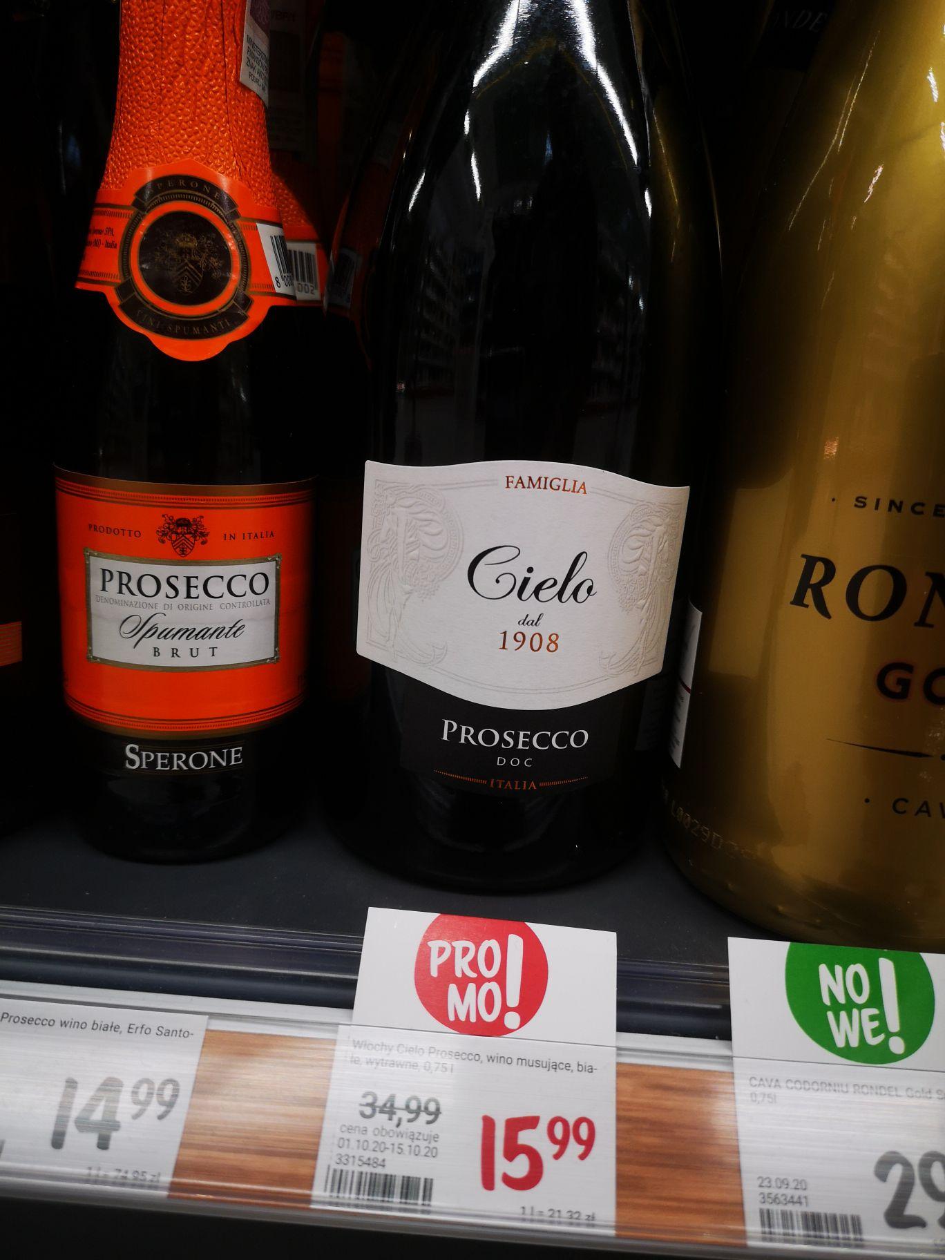 Cielo Prosecco wino białe wytrawne @Rossmann