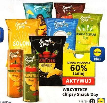 Wszystkie Chipsy Snack Day Drugi 60% taniej @Lidl