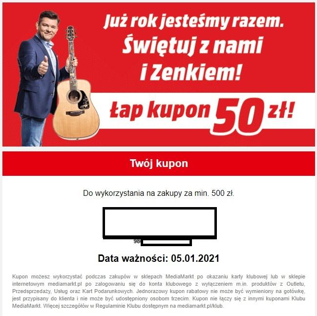 MediaMarkt - kupon 50zł MWZ 500zł