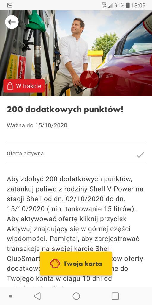 Shell - dodatkowe 200 pkt w aplikacji