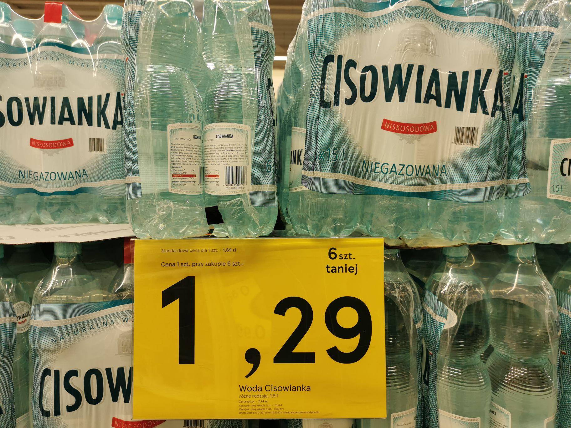 Woda Cisowianka 1.5l różne rodzaje 1.29pln Tesco