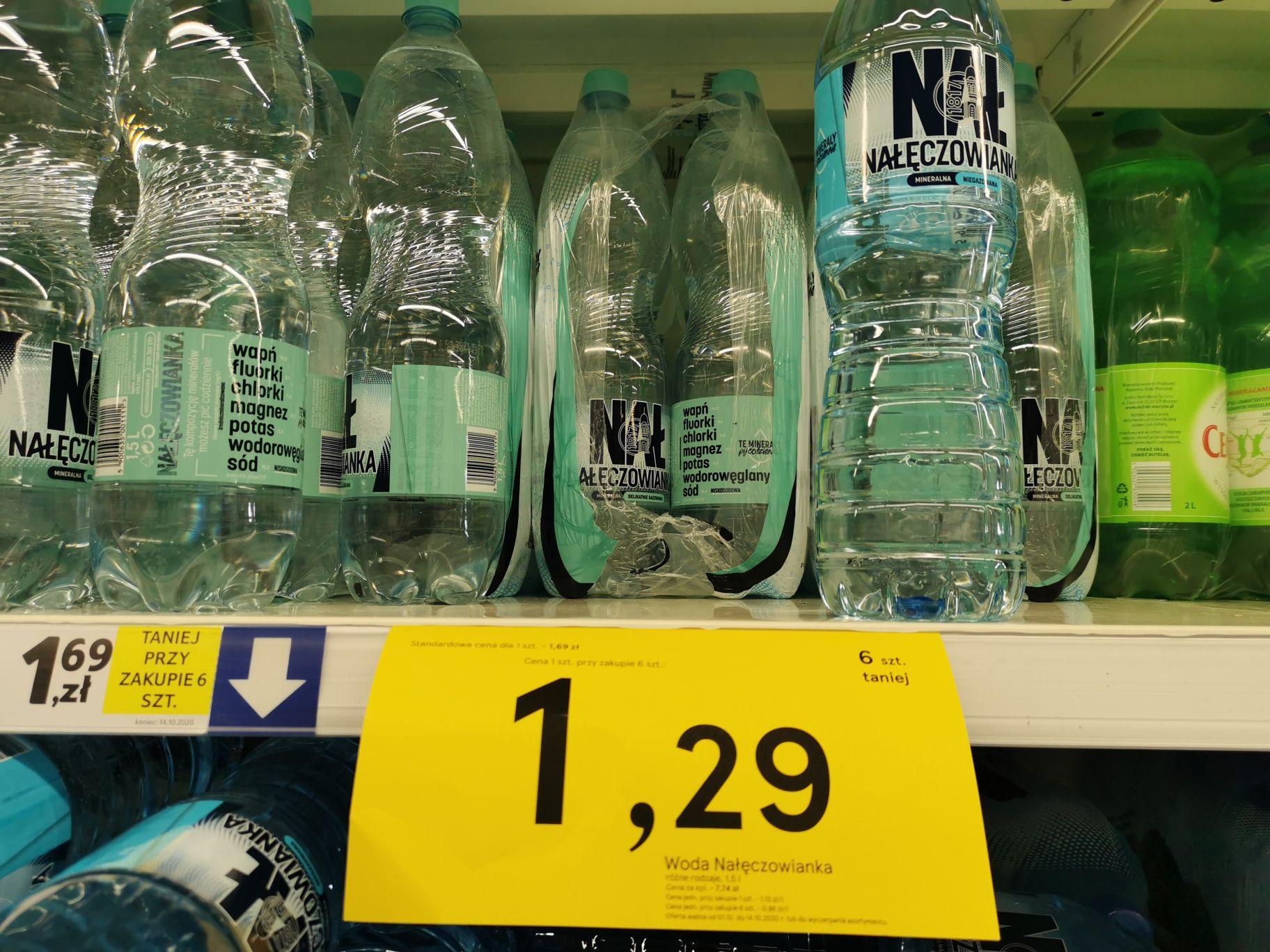 Woda Nałęczowianka 1.5l różne rodzaje za 1.29pln Tesco