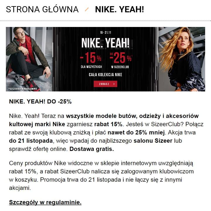 Do 25% rabatu na wszystkie produkty Nike @ Sizeer