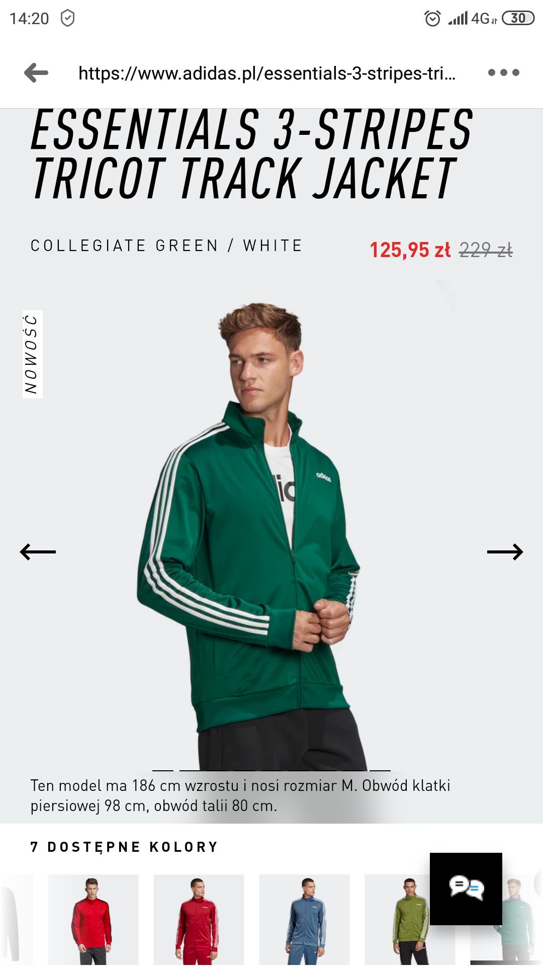 Adidas ESSENTIALS 3-STRIPES TRICOT TRACK JACKET ZOSTAŁO TYLKO S i L