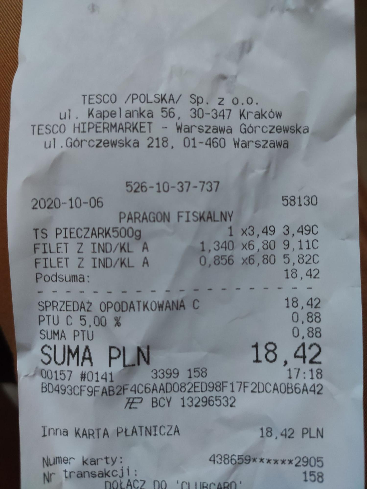Filet z indyka - Tesco Górczewska