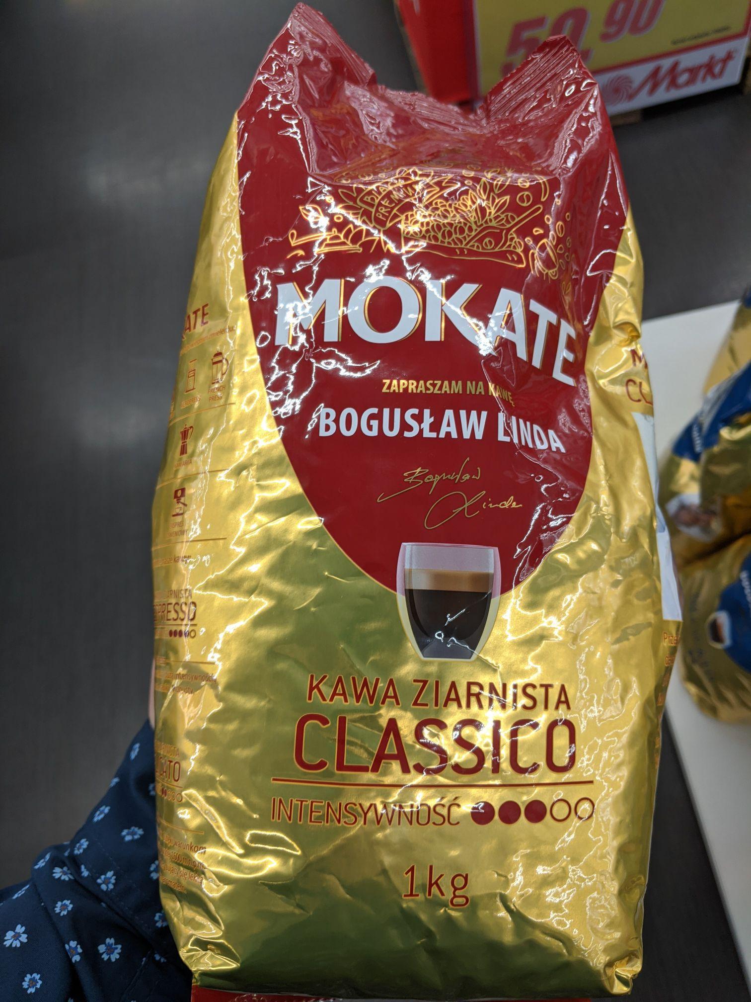 Kawa ziarnista, w ziarnach 1kg, MOKATE Classico (Arabica i Robusta) oraz Delicato (100% Arabika). Media Markt