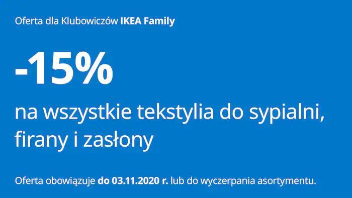 -15% na wszystkie tekstylia do sypialni, zasłony i firanki @ Ikea