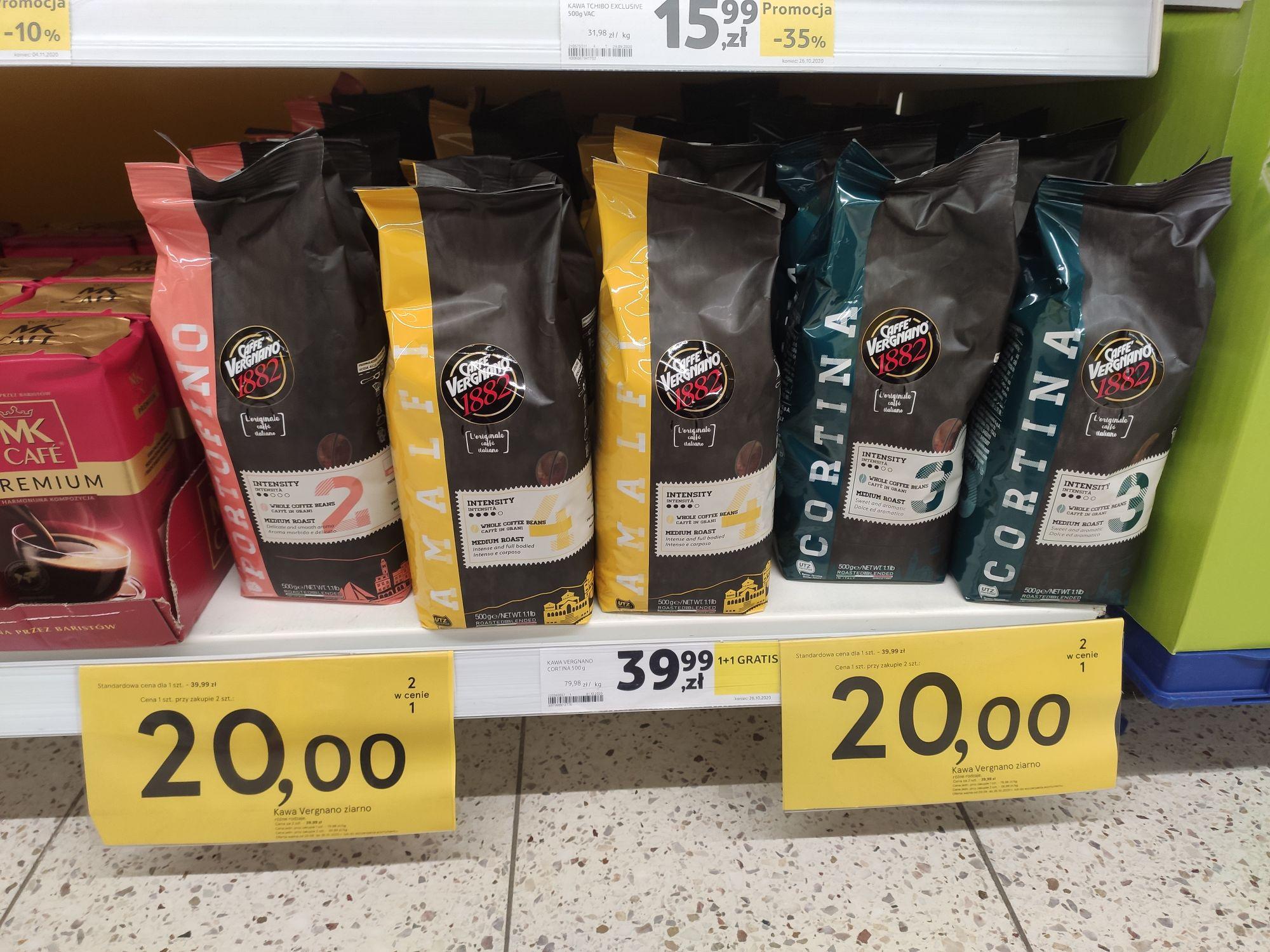 KAWA Caffe Vergnano PORTOFINO, CORTINA lub AMALFI - 500g - przy zakupie 2 w TESCO