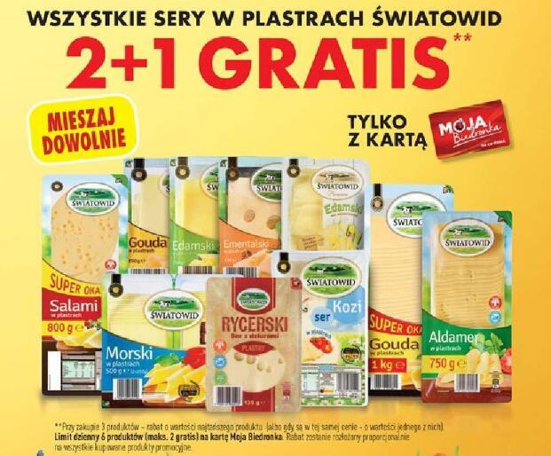 Wszystkie sery w plastrach 2 +1 gratis Światowid @Biedronka