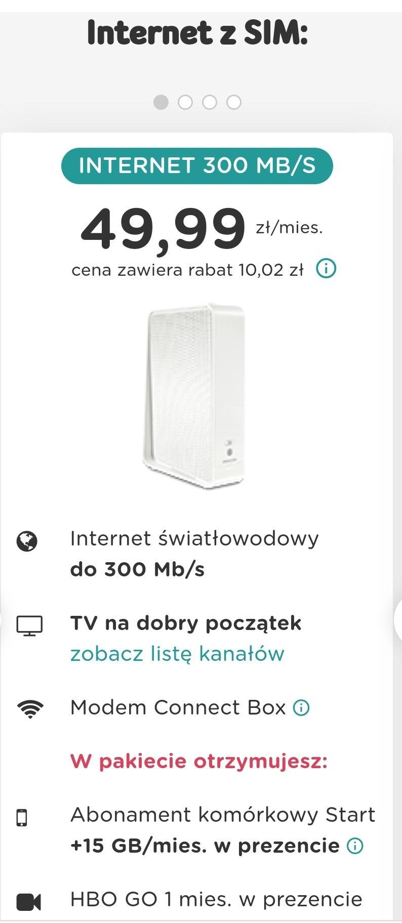 Zestaw uslug UPC internet światłowodowy 300mb/s + karta sim 15GB + pakiet tv