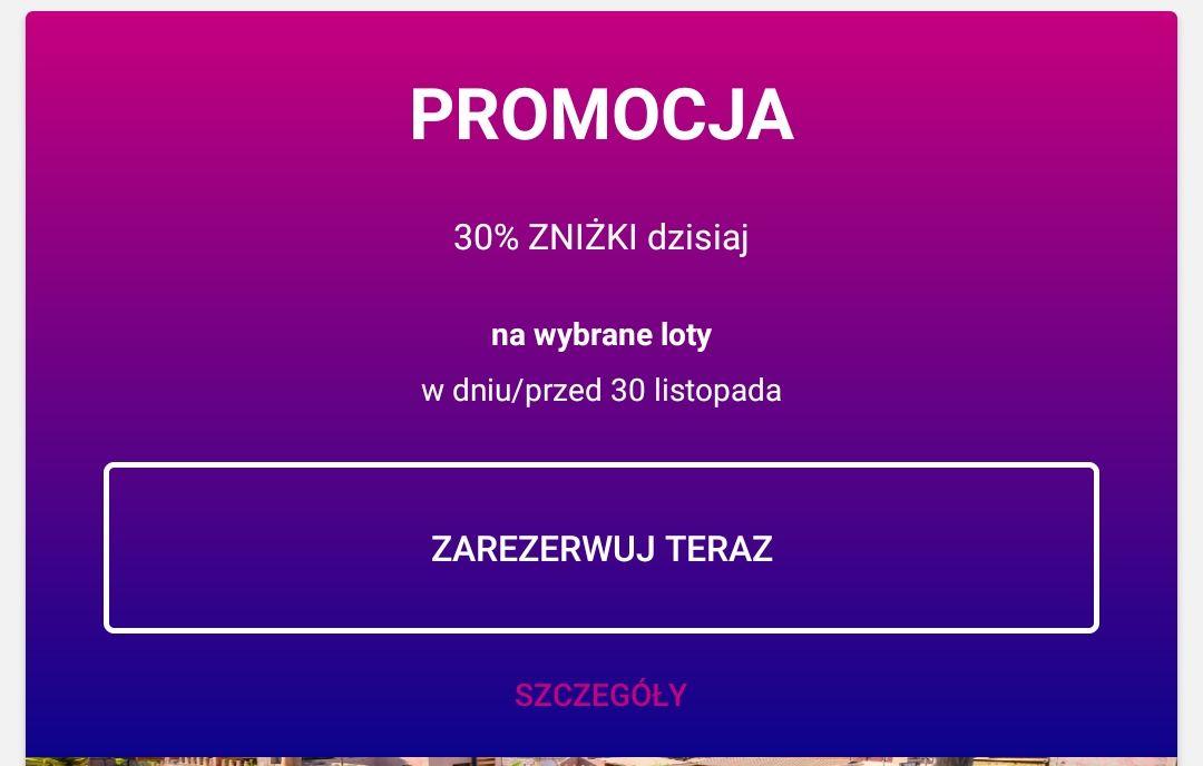 Wizz Air 30% zniżki na wybrane loty do 30 listopada