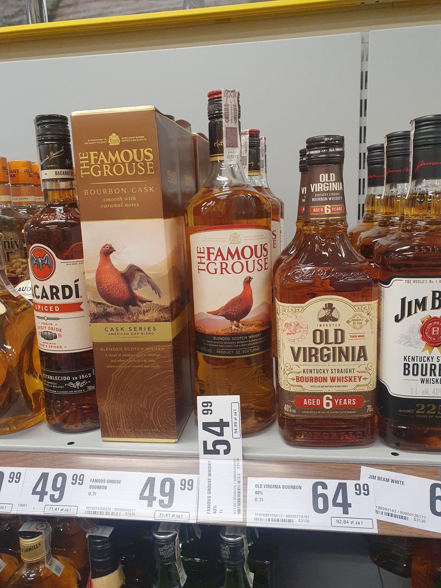 Whisky The Famous Grouse (Pardwa) za 54.99, bourbon / whisky Cask Series za 49.99 oraz Old Virginia za 64.99 @Netto